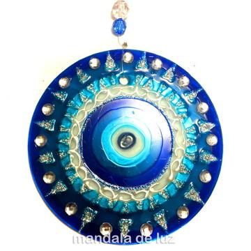 Mandala de Vidro Olho Grego 10cm 736