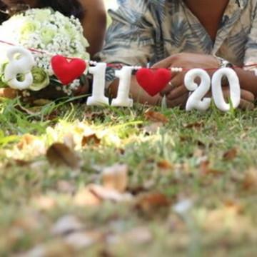 Varal Salve a Data em feltro para Ensaio de Pre wedding