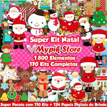 Super Coleção Natal com 170 Kits + 124 Papeis Digitais