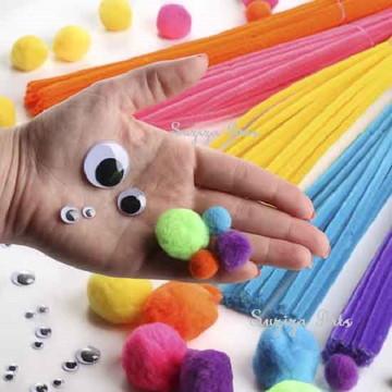 Kit Montessori basico hastes pompom Pompons FRETE GRATIS