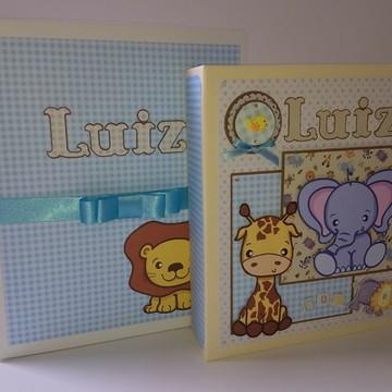 Álbum livro do Bebê personalizado scrapbook com caixa