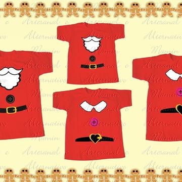 Kit 4 camisetas Natal Roupinha noel