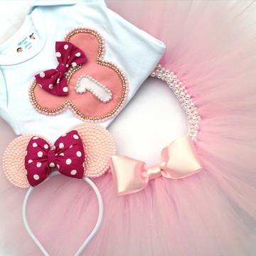 Conjunto/Fantasia Minnie Rosa