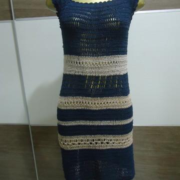 Vestido -Listrado Azul - Crochê.