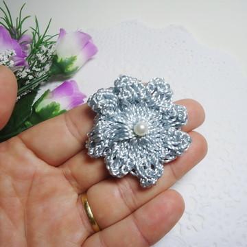 Aplique Flor Crochê Prata