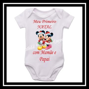 Body de Natal Infantil tema Minnie e Mickey