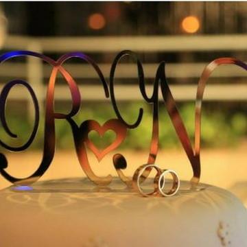 Topo De Bolo Acrílico Espelhado,casamento,inciais