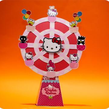 Caixinha Roda Gigante Hello Kitty personalizada com scraps