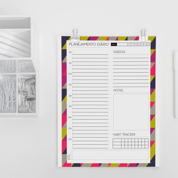 Planner diário coleção minimalista triângulos neon