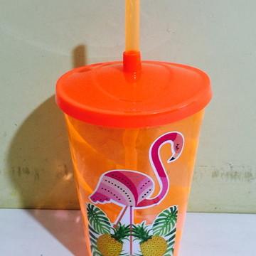 copo com canudo flamingo