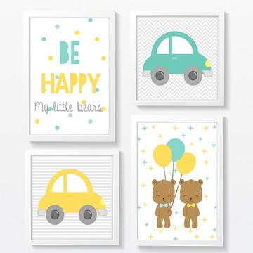 Decoração Infantil irmãos e carro - A4
