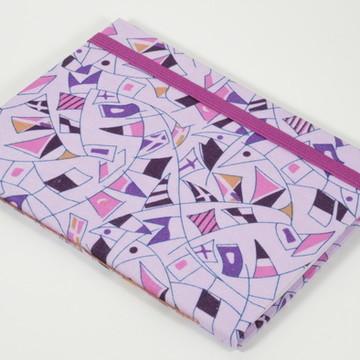 Caderno A6 com capa em tecido - Bandeiras Roxo