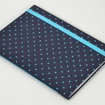 Caderno A6 com capa em tecido - Bolinhas