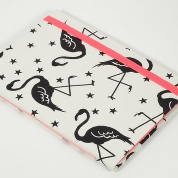 Caderno A6 com capa em tecido - Flamingos