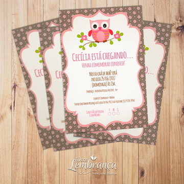 Convite Chá de Bebê - Corujinha