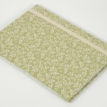 Caderno A6 com capa em tecido - Folhas verdes