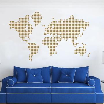 Adesivo Mapa Mundi Dourado