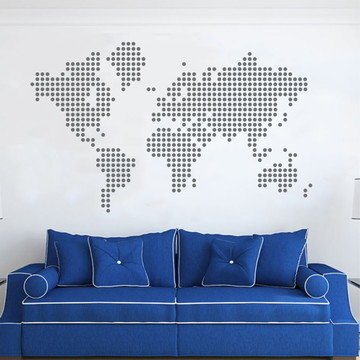 Adesivo Mapa Mundi Cinza Escuro
