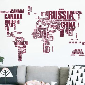 Adesivo mapa mundi com letras vinho