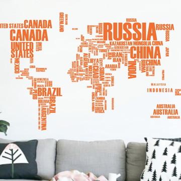 Adesivo mapa mundi com letras laranja