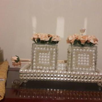 Kit luxo: bandeja + saboneteira +difusor