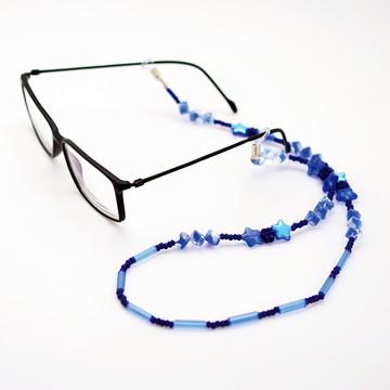Cordinha de pedrarias para óculos Azul