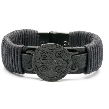 Pulseira de Couro Medalha de São Bento All Black