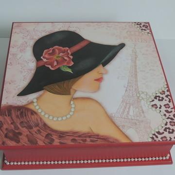Caixa de bijuteria Dama com chapéu