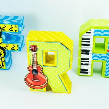 Letras 3d musicas instrumentos e notas musicais