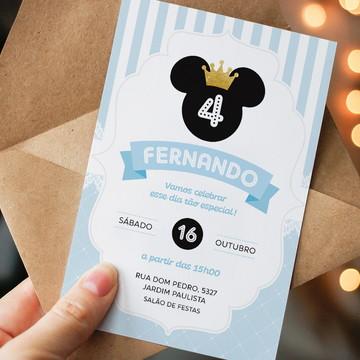 Convite Digital Aniversário Príncipe Mickey