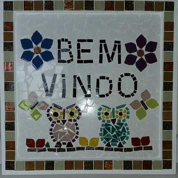 Placa Bem Vindo em mosaico