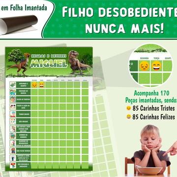 Quadro de Rotina Infantil Imantado Dinossauros