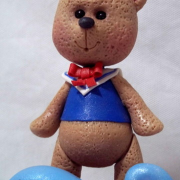 Urso Marinheiro Topo de bolo em biscuit