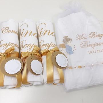 Kit Toalha Batismo e para Padrinhos 4 toalhas - Guipure