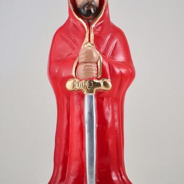 Escultura Exu Guardião Imagem Com capa vermelha ou Preta