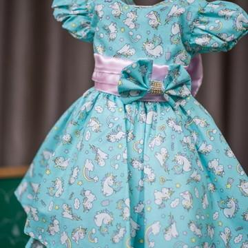 Vestido de Festa Infantil Tema Unicornio