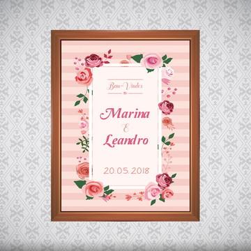 Quadro Casamento Bem-Vindo - Personalizado - 40x30cm