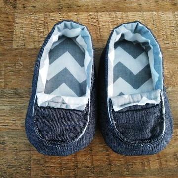 Sapato de pano para bebê mocassim jeans