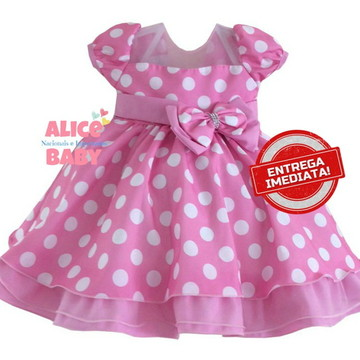 Vestido Festa Minnie Rosa - 1 ANO