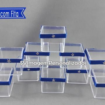 Caixa 4 cm de Acrílico com fita Azul Royal para personalizar