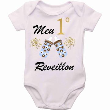 Body personalizado roupa Bebê meu primeiro reveillon