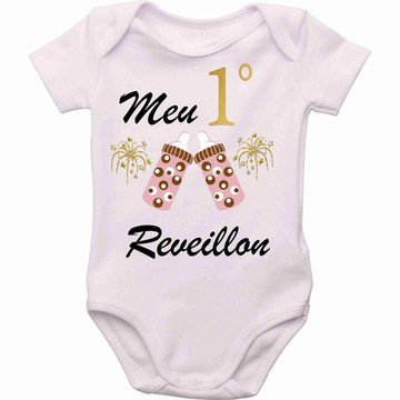 Body personalizado roupa Bebê meu primeiro reveillon menina