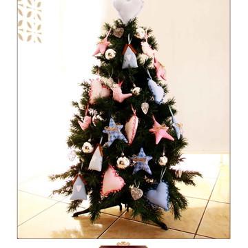 Kit enfeites de árvore de natal azul e rosa