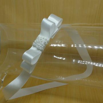 Cinto de cetim e laço bordado pérolas branco noiva/daminha