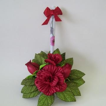 Porta Pano de Prato com Flores