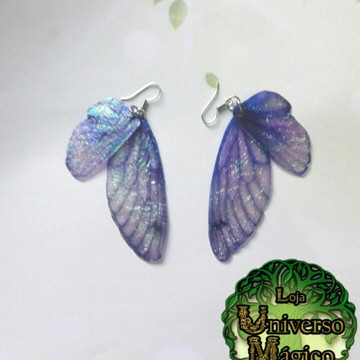 Brincos asas de fada borboleta lilás claro