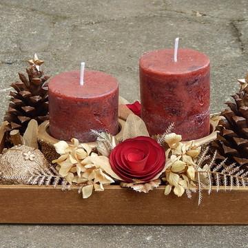 Natal arranjo velas vermelha dourado M