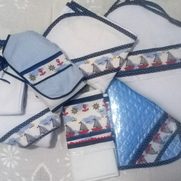 Kit enxoval de bebê menino - barco - 9 peças