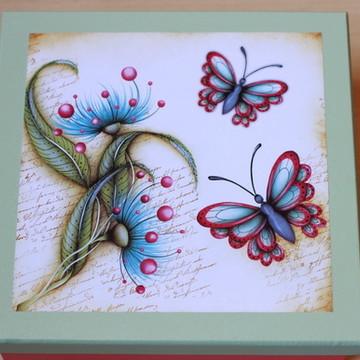 Caixa MDF quadrada, pintura e decoupagem