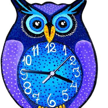 Relógio Coruja de olhos Azuis - Decoração de casa